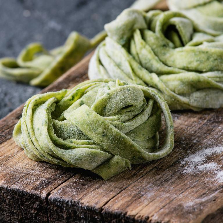 green pasta noodles